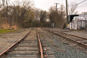 Dimension view of the railroad tracks.